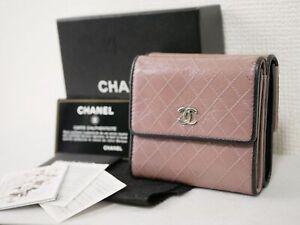 Chanel Bicolore W hook wallet purse purple metal fittings silver Authenti #4656P