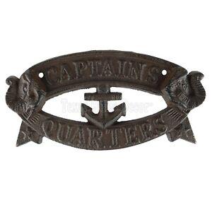Captains Quarters Wall Plaque Sign Cast Iron Antique Style Anchor Nautical Decor