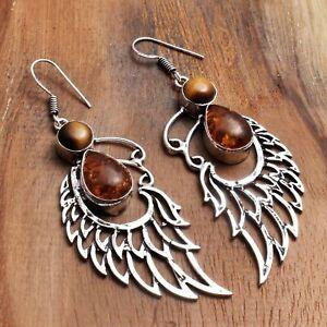 "Amber Tiger Eye Handmade Drop Dangle Earrings Jewelry 2.8"" AE 97875"