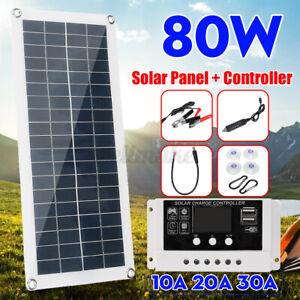 80W 12V Solar Panel Dual USB DC Charger Kit 30A LCD Controller Caravan Van Boat