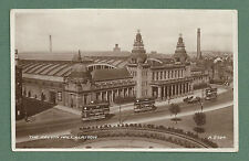 WWII RP PC KELVIN HALL GLASGOW TRAMS RUNNING IN FRONT
