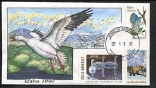 1990 Boise Idaho Trumpeter Swan Milford Hand Painted Cover FDC Stamp #4