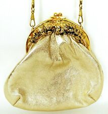 Vintage Gold Evening Clutch Bag w Chain Metal Clasp Prom Wedding Party Germany