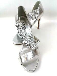 "Michael Kors Womens Silver 4.5"" Heels/Sandals W/Wide Ruffle Ankle Strap Sz 7.5M"