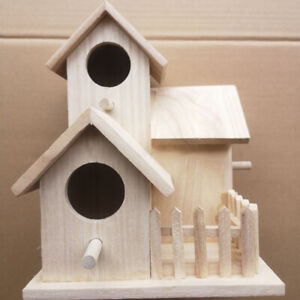 CW_ HN- Nordic Wooden Bird Breeding House Cage Box Home Garden Balcony Pendant D