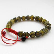 Green Dragon Skin Agate Gem Tibet Buddhist Prayer Beads Mala Bracelet