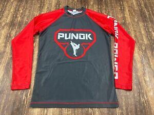Punok Power Men's Gray/Red Long Sleeve Jiu-Jitsu Rashguard Shirt - Large