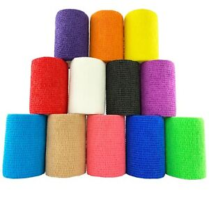 Inksafe Assorted Colours Self Adherent Cohesive Bandages 7.5cm x 4.5m Box of 12