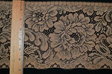 "Lace Trim - 7""w Flat lace - Floral Design - Golden Tan"