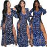 Stylish New Women's Long Sleeve Side Slit Bandage Leopard V Neck Club Maxi Dress