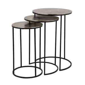 Nolan Round Side Tables - Three Piece Set - Gold - by Richmond Interiors