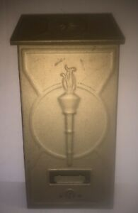 Vintage P.N. Company Gold Metal House Mail Letter Mailbox Art Deco Torch Design