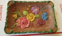 Vtg Aristocraft wood tray Painted Floral Motif 11 x 8