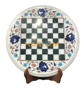 12'' Marble Round Chess Coffee Table Top Lapis Floral Inlay Playroom Decors W088