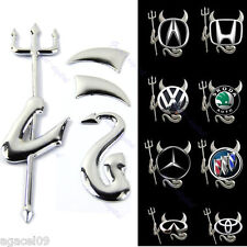FUNNY 3D DEVIL DEMON CAR VEHICLE STICKER DECAL SILVER CHROME NISSAN MAZDA FIAT