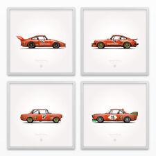 Jägermeister Racing Classic Porsche BMW Illustration Poster Print - Set of 4