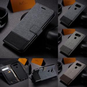 Magnetic Leather Flip Case Denim Canvas Card Wallet Cover For LG G5 G6 V60 V30
