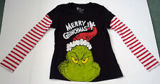 Dr Seuss  merry Grinchmas graphics long sleeve candy stripe layer look top