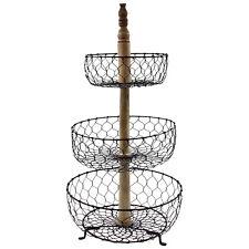 3 Tier Standing Metal Wire Fruit Vegetable Basket Bowl Rack Stand Storage Unit