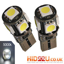 2x CANBUS 5 SMD LED 501 T10 W5W CAPLESS WEDGE WHITE SIDE LIGHT BULBS 5000K 6000K