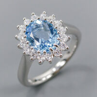 Blue Topaz Ring Silver 925 Sterling Jewelry Fashion Design Size 7 /R146748