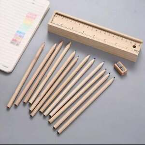 Wooden pencil Case with 12 color pencil AND 1 wooden sharpener  Ruler slide top