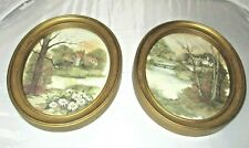 Vintage Homco Picture Frames House in the Woods Oval Leaves Gold 3254 Made Usa