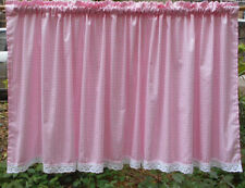 White with Pink checked Cotton Door Curtain/ lace Kitchen Curtain/Cafe curtain
