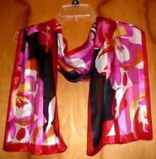 Anne Klein Very Elegant Flower Design 100% Luxurious Sheer Silk Scarf !