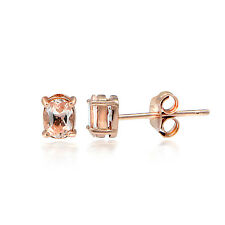 18K Rose Gold over Sterling Silver Morganite 5x3 Oval Stud Earrings