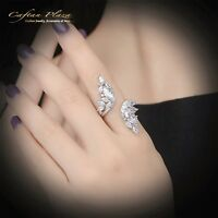 Damenring Engelsflügel Ring 18k Weissgold plt rhodiniert mit Cubic Zirkonia AAA