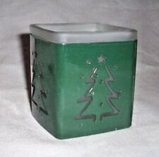 Green & Clear Glass Tea Lite Candle Holder With Pine Tree On Sides