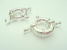 2 SILVER LARGE 15mm X 3.5mm RING BOLTS CLASPS & RINGS JEWELLERY MAKING FINDINGS