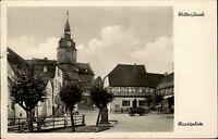 Wettin a.d. Saale Sachsen Anhalt DDR AK 1962 Marktplatz mit Kirche Fachwerkhaus