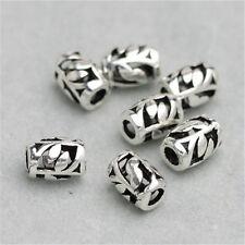 14 Sterling Silver Tree Leaf Barrel Beads 925 Silver Bracelet Spacer Beads