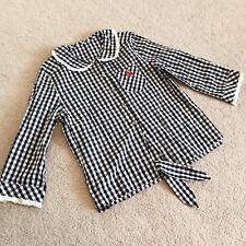 MILK Replica Black White Gingham Check Peter Pan Collar Dolly Blouse Larme Japan