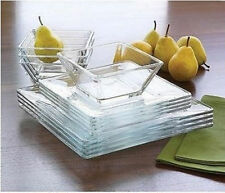 Dinnerware Set Glass Square Plates Bowls Dinner Salad Dishes 12 Pcs Brunch Lunch