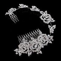 Silver Wedding Dress Hair Comb Diamante Bridal Accessories Rhinestone Headpiece