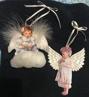 Sandra Kuck Dona Gelsinger Heaven's Little 2 Angels Ornaments #d Porcelain