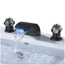 Widespread Bathroom Sink Mixer Tap LED Waterfall Spout Black Bronze Basin Faucet