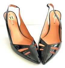 VIA SPIGA Gable Black Patent Leather Cut Out Pointed Toe Slingbacks Size 11