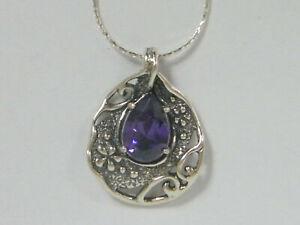 Lady Shablool Sterling Silver Pendant drop Shape Purple Amethyst CZ