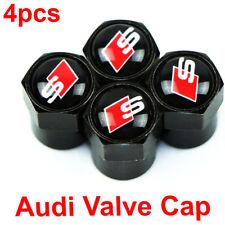 Audi Valve Cap S Line Car Logo Black Wheel Tire Stem Sline Air Dust Cover Set