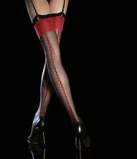 Bas Voile couture Rouge Femme pour porte jarretelle 20Den