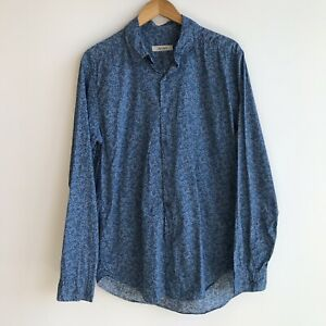 Jac+Jack Blue Floral Long Sleeve Button Up Shirt Cotton Australian Made Size M