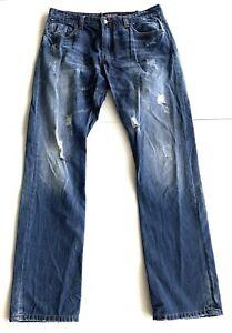 DEXTER Mens Denim Jeans Straight Cut Dark Wash Worn Distressed Style Size 38