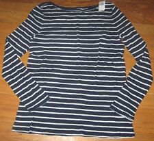 Gap Women's Blouse Top Pullover Boat Neck Cotton Blue stripe Medium New