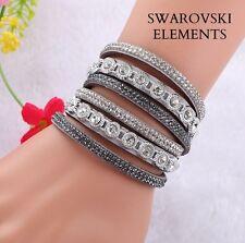 Bracelet gourmette cuir 3 rangées rivets  Swarovski® Elements ajustable gris