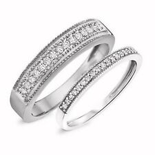 0.40 CT Round Cut Diamond 14K White Gold Over His & Hers Wedding Band Set Ring
