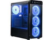 DIYPC VisionII-BL Black USB3.0 Steel / Tempered Glass ATX Mid Tower Gaming Compu